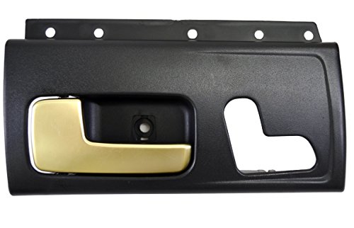 PT Auto Warehouse FO-2385MA-FL - Inside Interior Inner Door Handle, Black Housing with Chrome Lever (Golden Brush) - Driver Side Front - Town Car Door Handle