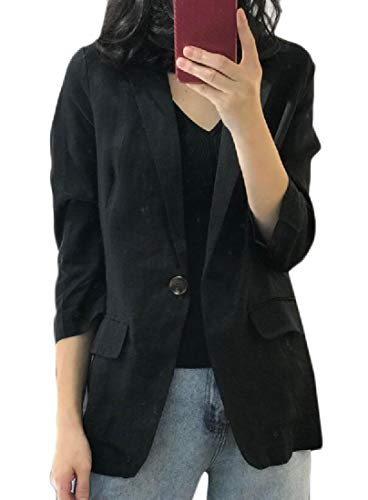 Wofupowga Women Cotton Linen One Button Suit Coat 3/4 Sleeve Blazer Jacket Black S Black Off Road Coat