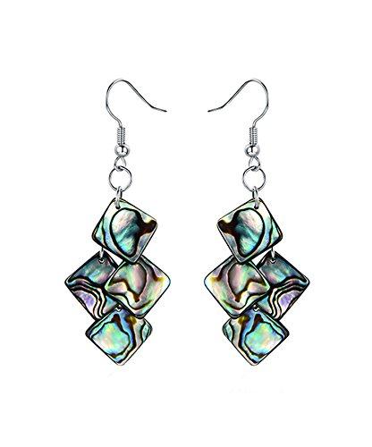 Abalone Pearl Hook Earrings - Elegant Square Shaped Mosaic of Abalone Shell Hook Earrings