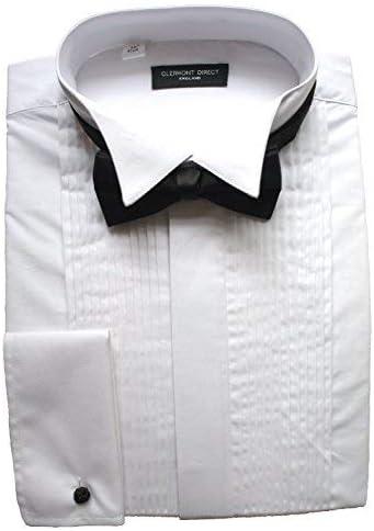 Clermont Direct Camisa plisada de polialgodón, cuello ala.