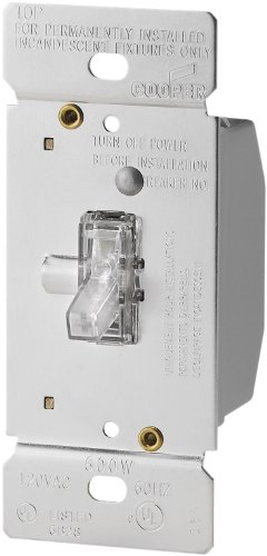 Eaton TI306L-K 600-Watt 120-Volt Single-Pole/3-way Lighted Incandescent/Halogen Toggle Dimmer with Non-Preset (Toggle 600w Dimmer)