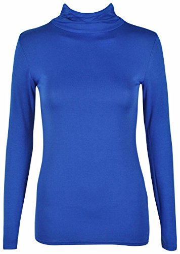 Royal effetto lunghe Nuovo Polo da Top Tops Shirt Everyday misure Blue donna tartaruga donna maniche elasticizzato T le collo da a Plus RESwCxq4w