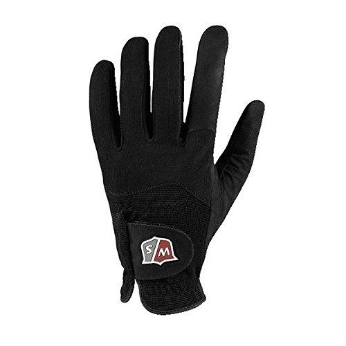 Wilson Staff Herren Golf-Regenhandschuh, Rain, Material-Kombi, Größe: L, Linkshand, MLH, schwarz, WGJA00112L