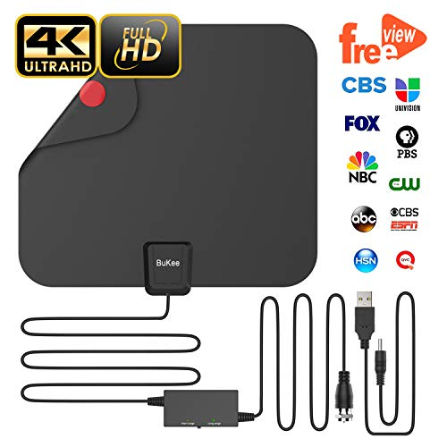 (Updated 2018 Version Professional TV Antenna, Indoor Digital HDTV Antennas Amplified 85 Miles Range 4K HD Freeview for Life Local Channels for All Type of Home Smart Television with Signal Controller)