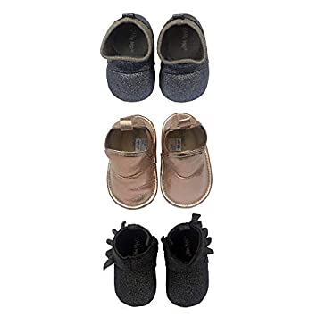 c5448dce6f1 3 Pack Baby Girl Soft Sole Crib Shoes- Baby Girl High Top Boots for Casual