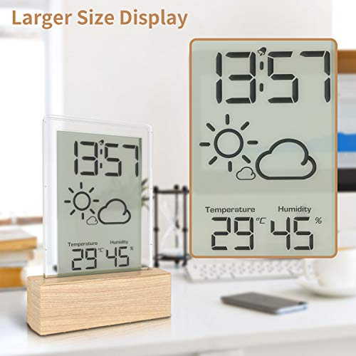 Beautlinks Stazione Meteorologico a Grana di Legno con Display LCD di Grandi per Interni con Termometro Interna, Umidità e Sveglia, per Camera da Letto da Ufficio (Inclusa 1 Batteria CR2032)