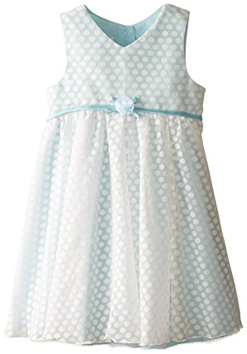 Marmellata Little Girls' Dot Flocked Dress, Blue, 2T ()