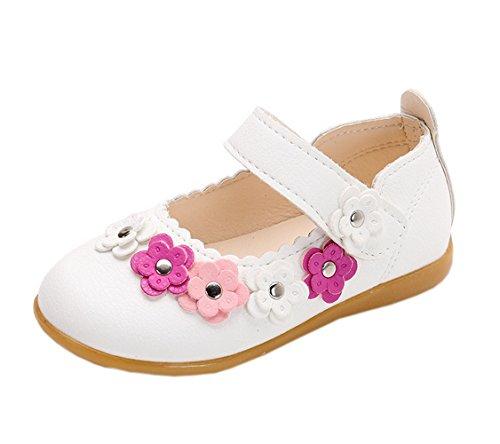 Vokamara Kleinkind Mädchen Blume Mary Jane Prinzessin Schuhe Ballett Wohnungen L-Weiß