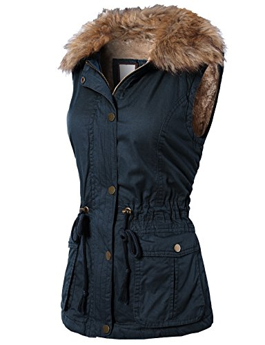 H2H Womens Casual Anorak Military detachable Fur and hoodie Vest