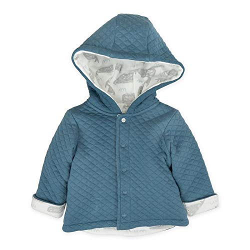 Mac & Moon Baby Boy Outwear, Blue Quilted Kimono Jacket with Hood & Whale Print, 6 Month