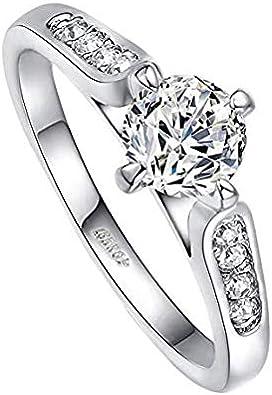 Yoursfs bagues Femmes Plaque Or 18k Or Blanc plaqu/é 0.5CT Diamant de Simulation de Bague de mari/ée