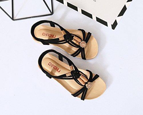 YOUJIA Planas Correa Playa de Rebordeado Chanclas Sandalias Toe Zapatos Mujeres Negro Boho Peep T SxYgqrwZS