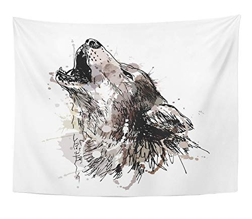 Emvency Tapestry Artwork Wall Hanging Watercolor Sketch Colored Hand Drawing of Howling Wolf Gray Draw Halloween Dog Paint 60x80 Inches Tapestries Mattress Tablecloth Curtain Home Decor -