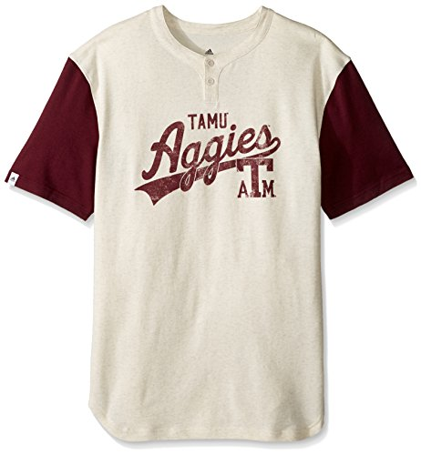 NCAA Texas A&M Aggies Men's Vault Tail Sweep Short Sleeve Henley Tee, Large, White