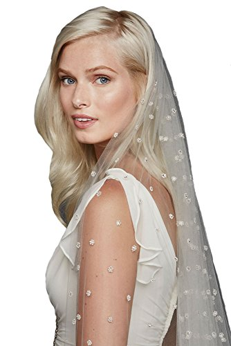 Passat Pale Ivory Single-Tier 3M All Over Beaded Cathedral Length wedding veils with comb DB31 by Passat