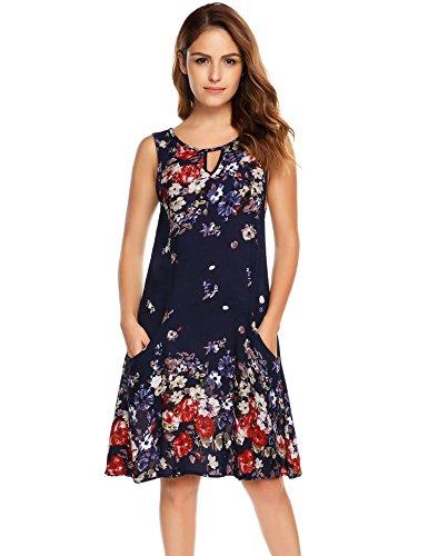 Zeagoo Women's Loose Floral Tank Dress Summer Casual Sleeveless Short Dress (Large, Blue)