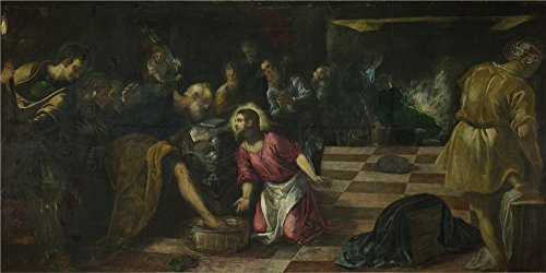Oil Painting 'Jacopo Tintoretto Christ Washing The Feet Of The Disciples' 30 x 60 inch / 76 x 153 cm , on High Definition HD canvas prints is for Gifts And Dining Room, Garage And Living Room decor