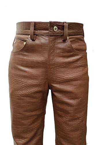(Mens Real Brown Alligator/Crocodile Print Leather 501 Style Jeans Pants Trouser Bikers Club )