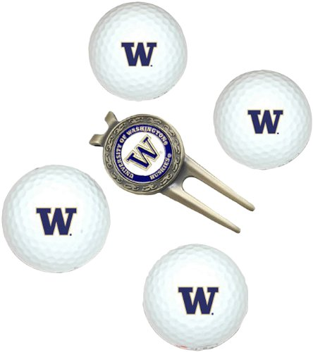 NCAA Washington 4-Pack Team Golf Ball Gift Set, Outdoor Stuffs