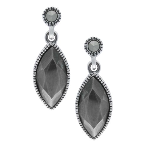 Aura 925 Sterling Silver Marcasite Gemstone Earrings Marquise Shape - Free Shipping