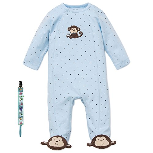 Little Me Infant Boys Baby Gift Monkey Sleepwear and Tether 9 Mths