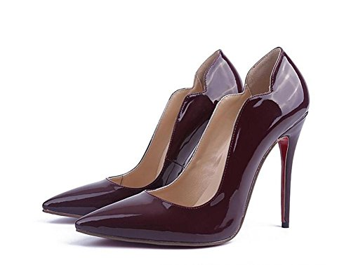 Zehe XIE Lackleder Heeled Schuhe Damen Einzigen High Spitze Weinrot Schuhe xqFIHq
