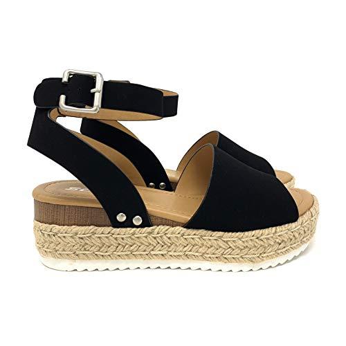 SODA Topic Topshoe Avenue Women's Open Toe Ankle Strap Espadrille Sandal (9 M US, Black)