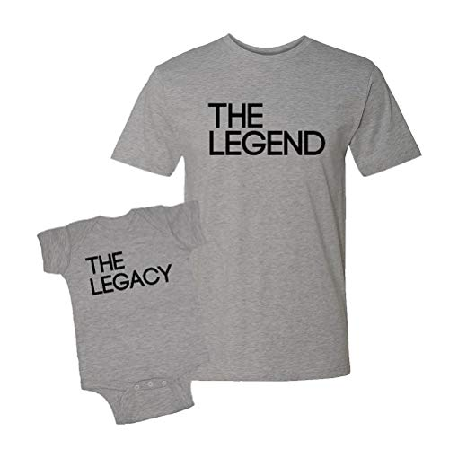 The Legend & The Legacy Infant Bodysuit & T-Shirt Matching Set (Heather, X-Large/6M) (Mother And Son Matching Clothes)