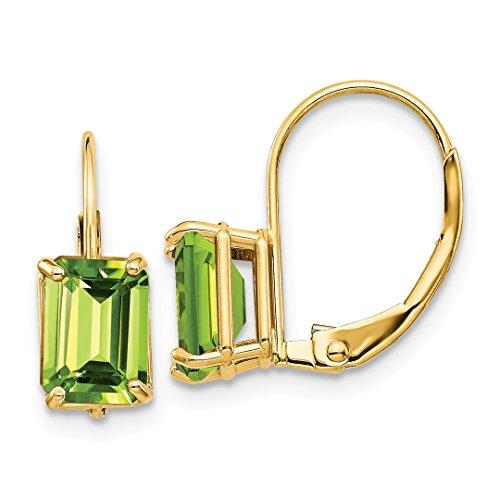 - 14k Yellow Gold 7x5mm Green Peridot Leverback Earrings Lever Back Drop Dangle Gemstone Prong Fine Jewelry For Women Gift Set