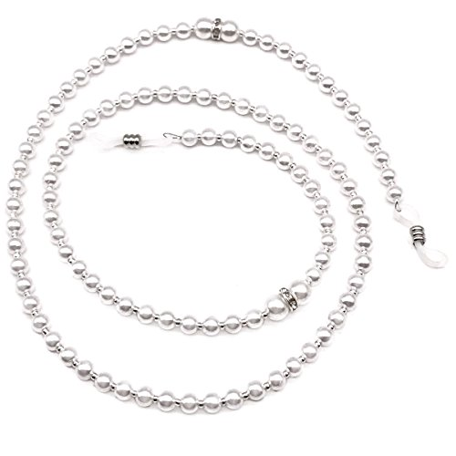 White Pearl Beaded Eyeglass Chain Sunglass Holder Strap Lanyard Necklace for Lady Girl