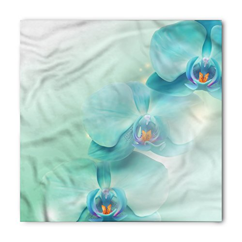 Flower Bandana by Lunarable, Springtime Orchid Trio with Beams on the Background Digital Artistic Floral Print, Printed Unisex Bandana Head and Neck Tie Scarf Headband, 22 X 22 Inches, (Orchid Trio)