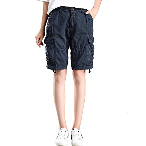MUST WAY Women's Casual Loose Fit Relaxed Sports Wear Bermuda Cargo Shorts with Multi Pockets 18330GKNK3 Blue 10