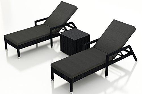 Harmonia Living Urbana 3 Piece Chaise Lounge Set, Canvas Charcoal