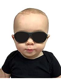Babyfied Apparel Baby Aviator Sunglasses Black w/Strap 0-2 Yrs