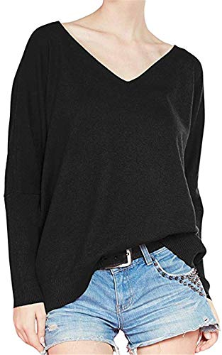 Liny Xin Women's Loose Batwing Sleeve Big V-Neck Pullover Cashmere Wool Sweater(Black,L)