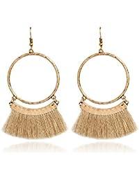 Fan Tassel Earrings Hoop Drop Dangle Earrings Fish Hook Earring for Daily Wear, Wedding, Party etc