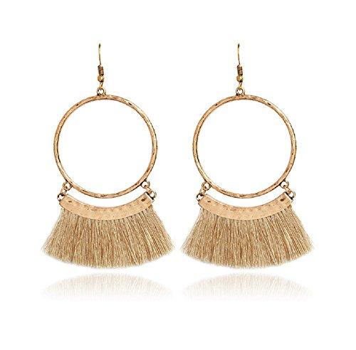 Livtor Fan Tassel Earrings Hoop Drop Dangle Earrings Fish Hook Earring for Daily Wear, Wedding, Party etc(Khaki) ()
