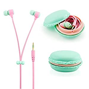 GEARONIC TM Cute 3.5mm in Ear Earphones Earbuds Headset with Macaroon Ear buds Organizer Box Case for Iphone,for Samsung,for Mp3 Ipod Pc Music - Blue