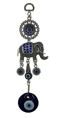 Bravo Team Lucky Elephant and Evil Eye Good Luck Hanging Ornament for Protection, Blessing and Strength with Rhinestone Crystals, Pendant Decoration for Car, Home and Office Great Gift