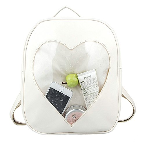 Naray Candy Pu Leather Backpack Plastic Transparent Heart Beach Grils School Bag