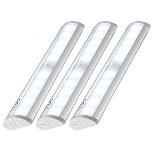 (Kuled 10-led Wireless Motion Sensing Stick-on Anywhere Step LED Light Bar with Magnetic Strip, Pure White,  3-Pack)