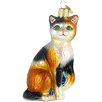 Old World Christmas Calico Cat Glass Blown Ornament