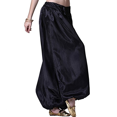 Belly Dance Costumes Harem Pants (MUNAFIE Belly Dance Pants Carnival Satin Latern Pants Tribal Harem Pants Black)