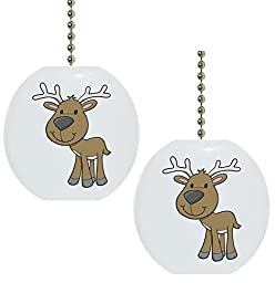 Set of 2 Baby Deer Reindeer Wildlife Solid Ceramic Fan Pulls