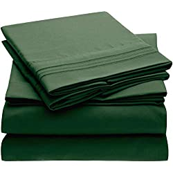 Mellanni Bed Sheet Set Brushed Microfiber 1800 Bedding - Wrinkle, Fade, Stain Resistant - Hypoallergenic - 3 Piece (Twin, Emerald Green)