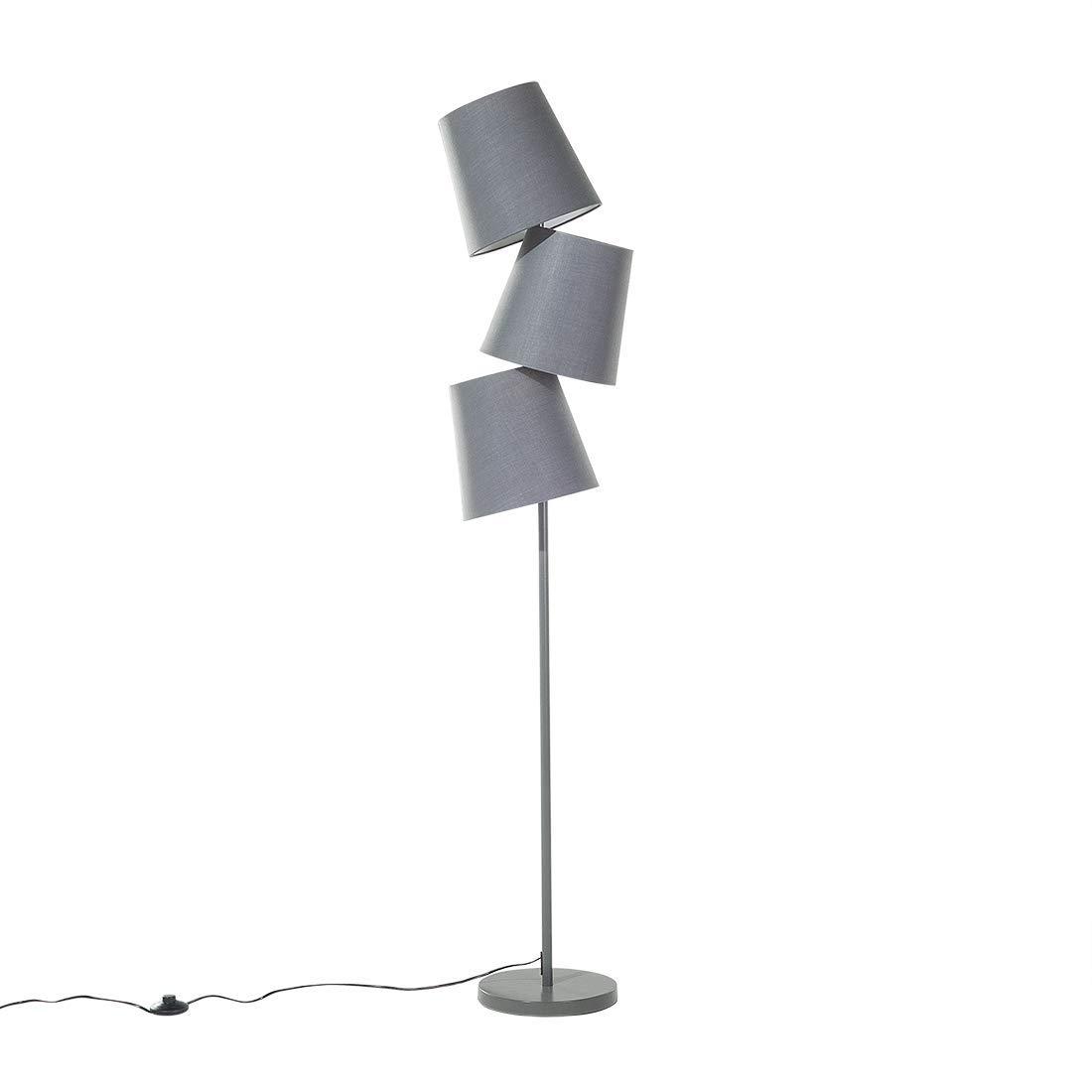 Beliani Moderne Stehlampe 3 Lampenschirme Polyester Metall Grau