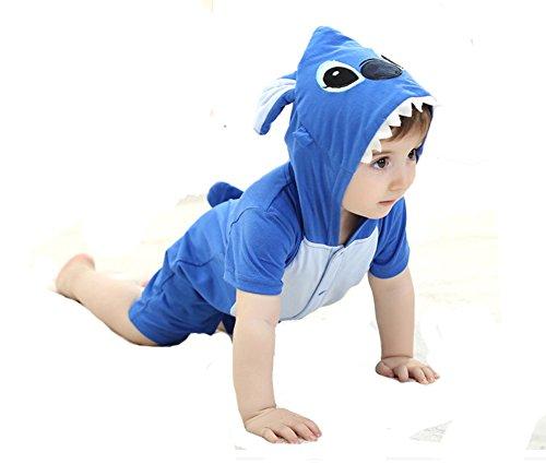 Tonwhar Unisex Baby Summer Short Sleeve Rompers Onesie Costume (70(0-6 month), Blue Stitch)