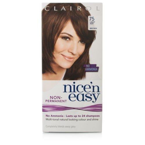 Clairol Nice n' Easy Hair Color #75 Light Ash Brown (Pack of 3) UK Loving Care