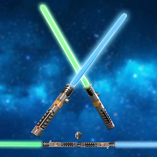 FUN LITTLE TOYS 2 LED Light Saber Laser Sword Connectable Light Saber, 2 in 1 Light Sound Effect (Battery Included) -