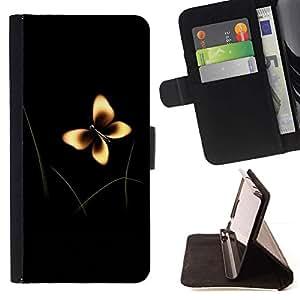 Momo Phone Case / Flip Funda de Cuero Case Cover - Arte de la mariposa Hierba Verde Amarillo Marrón Naturaleza - Samsung Galaxy S5 V SM-G900